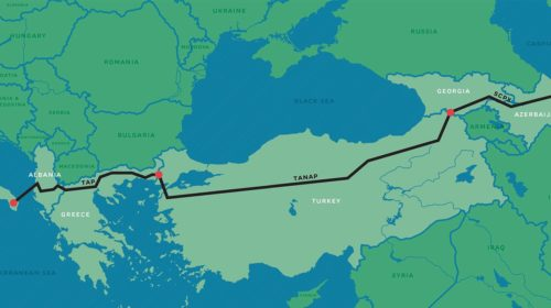 Route of the planned mega pipeline Southern Gas Corridor (the Trans Adriatic Pipeline is a part of it)