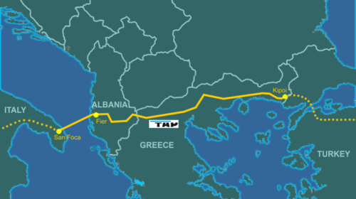 Planned route of Trans-Adriatic Pipeline, as part of the Southern Gas Corridor